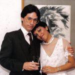 14 de febrero de 1986, el día de su matrimonio con Alina Vera Carbo