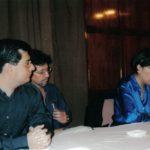 Presentación de Acoso textual en Guayaquil, con quienes presentaron la novela: Erwin Buendía (1966 – 2006) y Cecilia Ansaldo, septiembre de 1999.