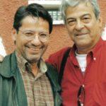 Con el poeta peruano Antonio Cisneros, Cuenca 2002.
