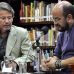 """Con Álvaro Castillo, en el Festival de Poesía """"Las lineas de su mano"""", Bogotá, mayo 22, 2013."""