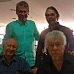 Con Freddy Ñañez y Gustavo Pereira, de Venezuela, y Juan Manuel Rocca, de Colombia, durante el Festival de Poesía de Medellín, junio 20, 2016
