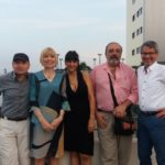 """Con Hussein Habasch, Zoë Skoulding, Laura Valente y Daniel Quintero, en la Universidad Politécnica Salesiana, durante el Festival de Poesía de Guayaquil """"Ileana Espinel Cedeño"""", julio 11, 2017."""